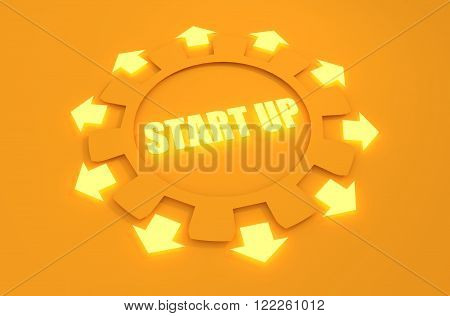 Industry theme relative concept. Arrows withing cog wheel. Start up text. 3d rendering