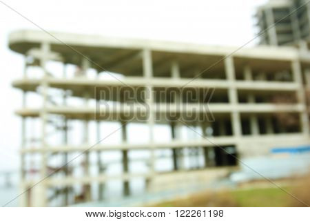 Blurred view of a new unfinished building