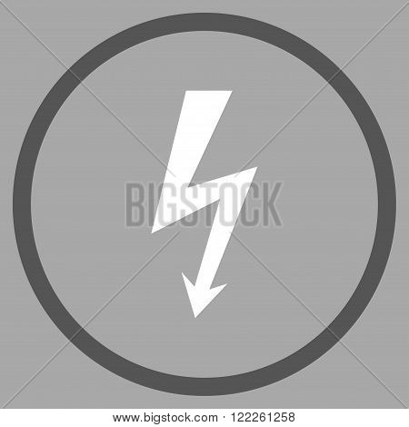 High Voltage vector bicolor icon. Picture style is flat high voltage rounded icon drawn with dark gray and white colors on a silver background.