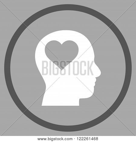 Lover Head vector bicolor icon. Picture style is flat lover head rounded icon drawn with dark gray and white colors on a silver background.