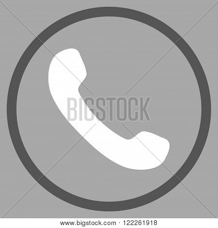 Telephone Receiver vector bicolor icon. Picture style is flat phone receiver rounded icon drawn with dark gray and white colors on a silver background.