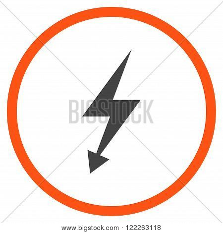 Electrical Strike vector bicolor icon. Picture style is flat electric strike rounded icon drawn with orange and gray colors on a white background.