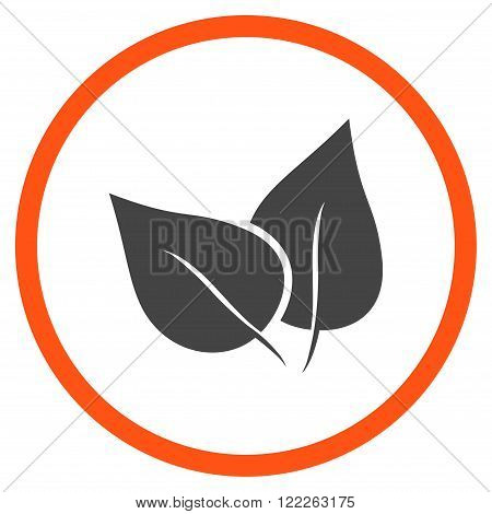 Flora Plant vector bicolor icon. Picture style is flat flora plant rounded icon drawn with orange and gray colors on a white background.