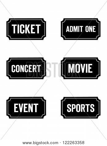 A collection of vector tickets in black and reverse