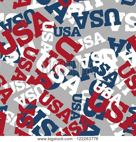 Usa Seamless Pattern. National Background. American Texture. Patriotic Ornament For America. United