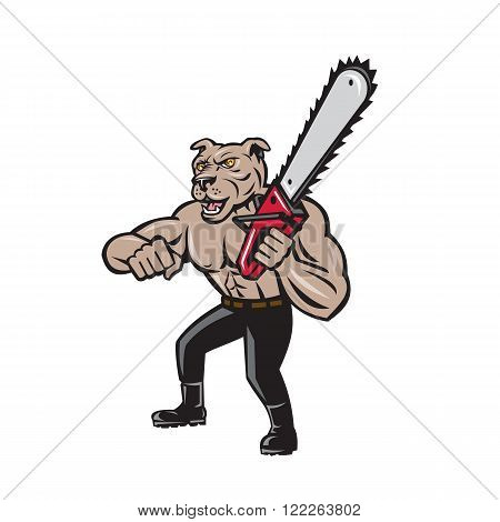 Illustration of mongrel dog lumberjack arborist tree surgeon holding a chainsaw on isolated white background done in cartoon style.