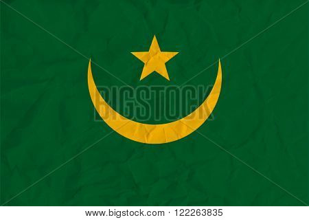 Vector image of the Mauritania  paper  flag