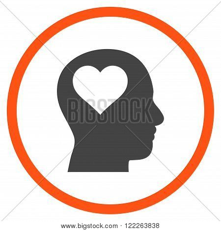 Lover Head vector bicolor icon. Picture style is flat lover head rounded icon drawn with orange and gray colors on a white background.