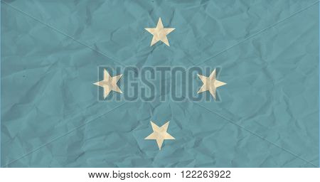Vector image of the Micronesia paper  flag