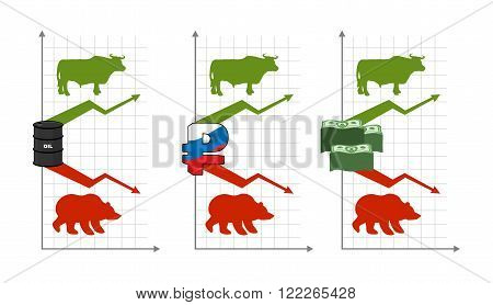 Bulls And Bears. Rise And Fall Of Quotations. Green Up Arrow.red Down Arrow. Bear And Bull. Barrel O
