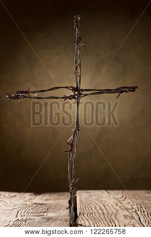 crucifix from barbed wire shallow depth of fieldtaken under studio light with electronic flash