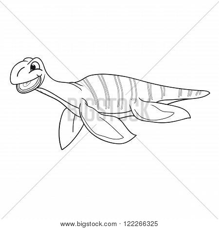Vector illustration. Black and white plesiosaur on a white background for coloring.