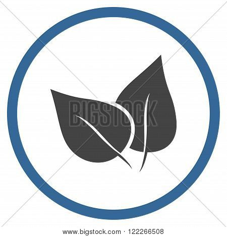Flora Plant vector bicolor icon. Picture style is flat flora plant rounded icon drawn with cobalt and gray colors on a white background.