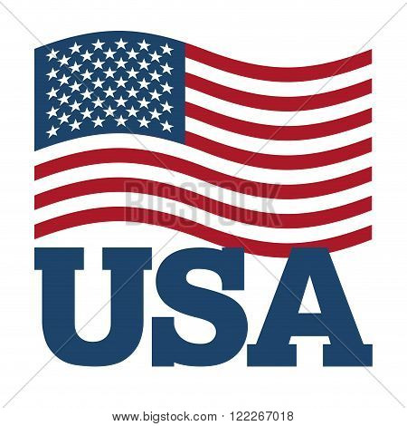 Flag Usa. Developing America Flag On White Background. Patriotic Illustration. National State Symbol
