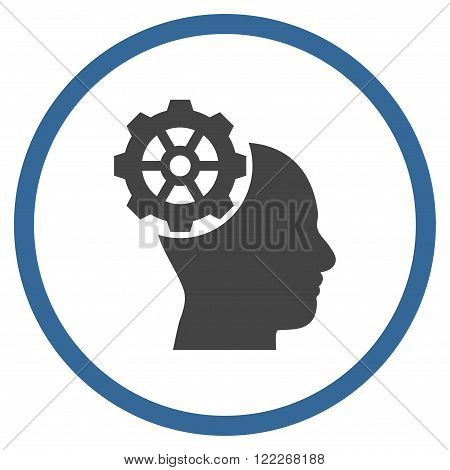 Head Gear vector bicolor icon. Picture style is flat head gear rounded icon drawn with cobalt and gray colors on a white background.