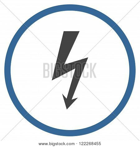High Voltage vector bicolor icon. Picture style is flat high voltage rounded icon drawn with cobalt and gray colors on a white background.