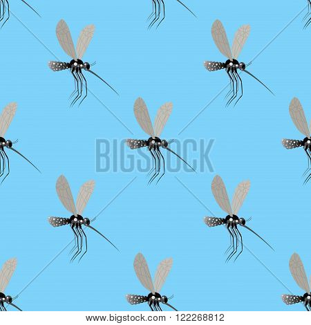 Mosquito Seamless Pattern. Texture Of The Insects. Mosquito On A Blue Background. Flies To Many Inse