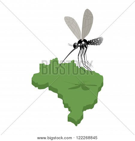 Mosquito And  Map Of Brazil. Zika Virus In Brazil. Mosquito Attacked Brazil. Illustration For Epidem