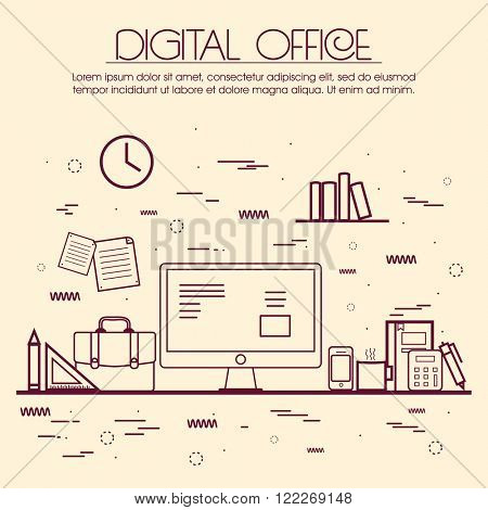 One page web design template, line art flat icons based on digital office, project management service, business solution platform for startup. Hero image, website layout and website slider.