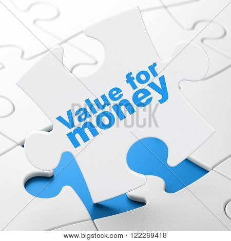 Banking concept: Value For Money on puzzle background