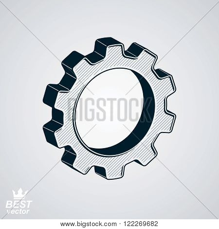 Dimensional Classic Cog Wheel Vector Illustration Isolated On White Background. 3D Engineering Desig