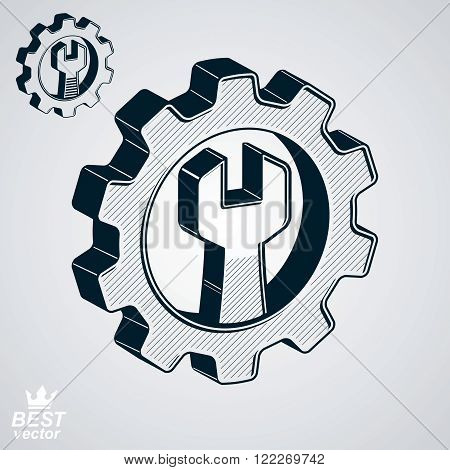 Dimensional Cog Wheel With Repair Spanner Vector Illustration. 3D Engineering Design Element – Manuf