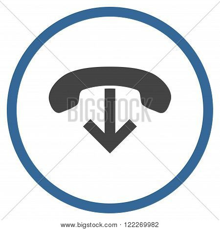 Phone Hang Up vector bicolor icon. Picture style is flat phone hang up rounded icon drawn with cobalt and gray colors on a white background.