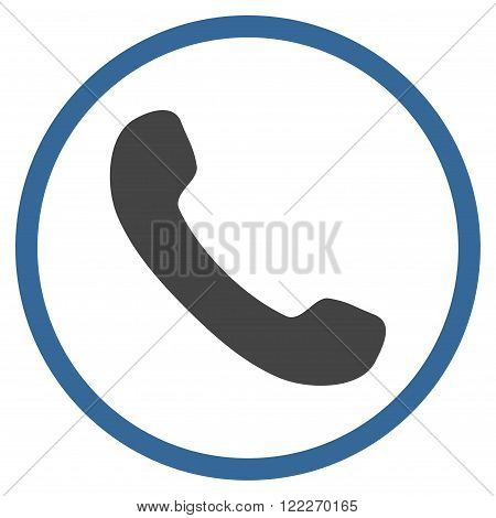 Telephone Receiver vector bicolor icon. Picture style is flat phone receiver rounded icon drawn with cobalt and gray colors on a white background.
