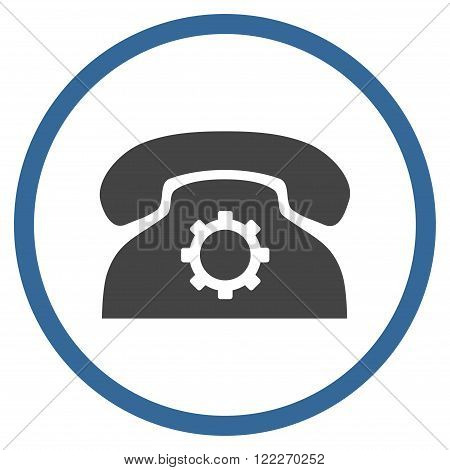 Telephone Setup vector bicolor icon. Picture style is flat phone settings rounded icon drawn with cobalt and gray colors on a white background.