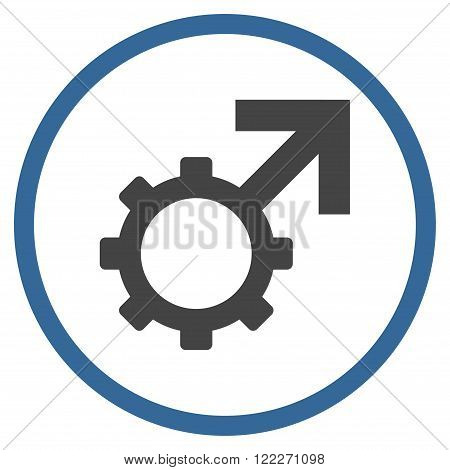 Technological Potence vector bicolor icon. Picture style is flat technological potence rounded icon drawn with cobalt and gray colors on a white background.