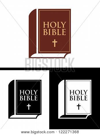 Vector set of the holy bible in colour, black and reverse