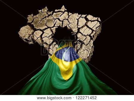 Brazil flag coming out of map cracked Brazil