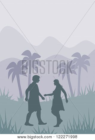 A man and a woman who meet each other in the wild, between palm trees.
