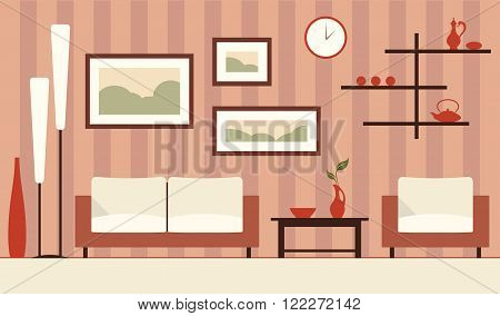Vector brown interior illustration of cartoon minimalistic modern living room.