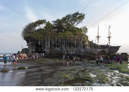 Bali Indonesia - August 5 2015: famous Tanah Lot Temple on Sea in Bali Island Indonesia with blue sky