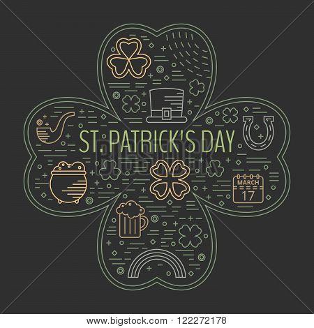 St. Patricks day colorful line icons set in clover shape on black background. Design concept for festive banner, greeting card, flyer, t-shirt, poster, advertisement. Vector illustration.