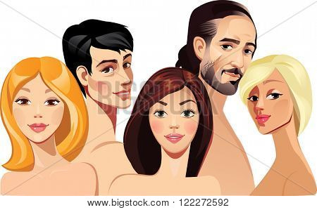 vector portraits of faces girls and mens