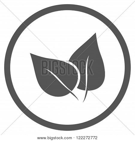Flora Plant vector icon. Picture style is flat flora plant rounded icon drawn with gray color on a white background.