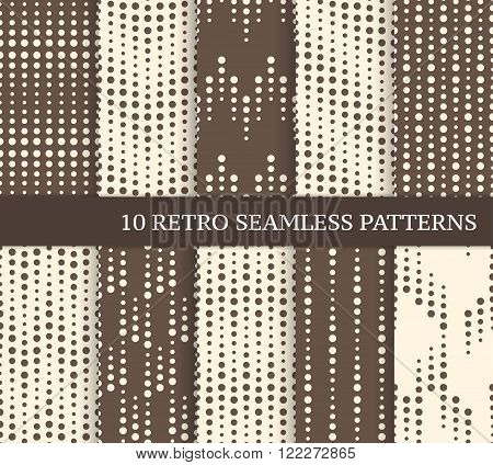 Ten different geometric seamless patterns with dots. Zig zag and stripes made of dots with different size. Endless texture for wallpaper web page background wrapping paper and etc. Retro style.