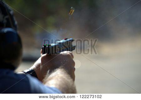 Handgun training at the shooting range in Israel