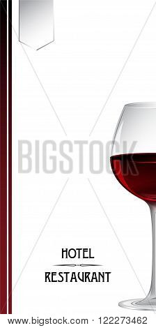 Cover for hotel and restaurant leaflet with a glass of red wine. Clipping mask is applied.