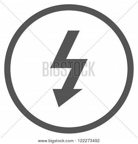 High Voltage vector icon. Picture style is flat high voltage rounded icon drawn with gray color on a white background.
