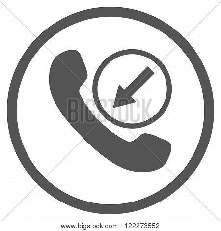 Incoming Call vector icon. Picture style is flat incoming call rounded icon drawn with gray color on a white background.
