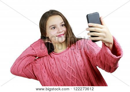 Beautiful Young Taking a Selfie with White Background