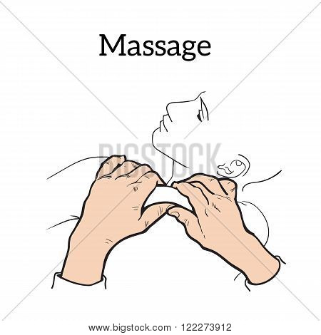 Hand massage, back massage, body massage. THand massage. Massage therapy. Therapeutic manual massage.  Massage vector icons.