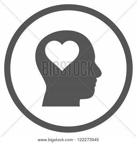 Lover Head vector icon. Picture style is flat lover head rounded icon drawn with gray color on a white background.