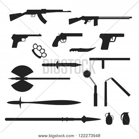 Weapons flat vector collection black silhouette isolated on white background. Weapon vector illustration. Knives, huns, bomb and other weapon black silhouette collection