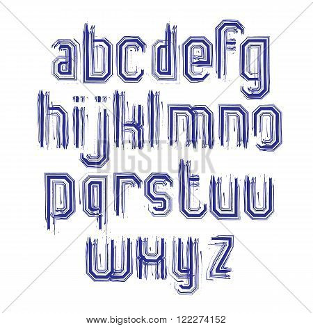 Lowercase calligraphic brush letters hand-painted striped vector alphabet.