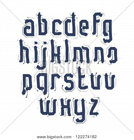 Handwritten contemporary vector lowercase letters doodle hand-painted alphabet.