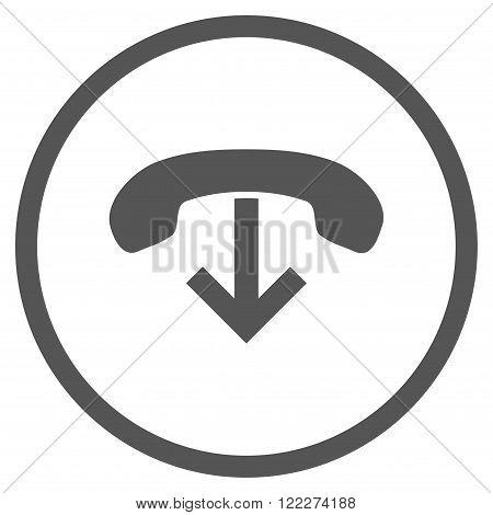 Phone Hang Up vector icon. Picture style is flat phone hang up rounded icon drawn with gray color on a white background.